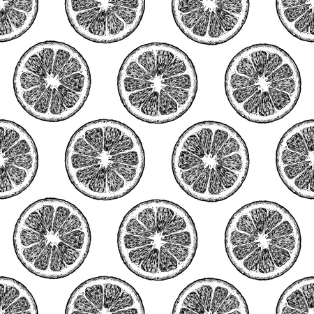 Reticolo senza giunte bianco e nero con spicchi di agrumi, limone e arancia. illustrazione in stile vintage inciso. Vettoriali