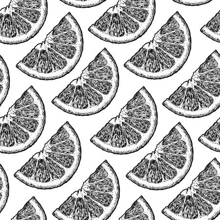 Vector nahtloses Schwarzweiss-Muster mit Zitrus-, Zitronen- und Orangenspalten. Illustration im Vintage-Gravur-Stil.
