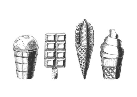 Set of different types of ice cream. .  Vector hand drawn illustration in vintage engraved style. Isolated on white background. Иллюстрация