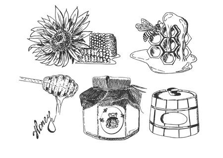 Vector hand drawn set of apiary sketches. Sunflower, bee, honeycomb, birchbark tub, spoon, jar, wax. Isolated on white background. Ilustracja