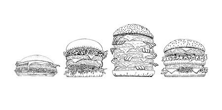 Vector hand drawn illustration of hamburger, cheeseburger, double cheeseburger, australian burger in vintage engraved style. Isolated on white background.