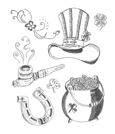 Vector hand drawn set of St. Patricks Day accessories. Topper hat, pot of gold, old horseshoe, shamrock, steaming smoking pipe. Isolated on white background.