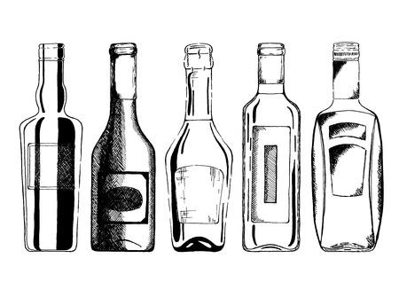 Insieme di vettore delle bottiglie di vino e champagne in stile disegnato a mano di inchiostro. isolato su bianco.