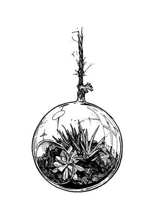 Vector hand drawn illustration of flower composition in glass ball vase suspended on string with various flowers type planted in ground in vintage engraved style. Isolated on white background