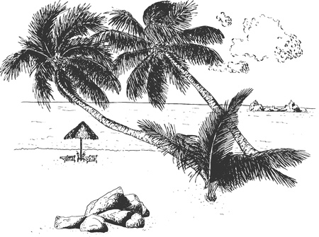 Vector hand drawn illustration of tropical seascape with palm trees, stones and two deck chairs under canopy near ocean on sand with cloudy sky in vintage engraved style. Isolated on white background