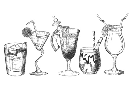 Vector hand drawn set of tropical cocktails. Tropical exotic alcohol drinks in glasses different shapes decorated with straws, fruit pieces and ice. Isolated on white background.