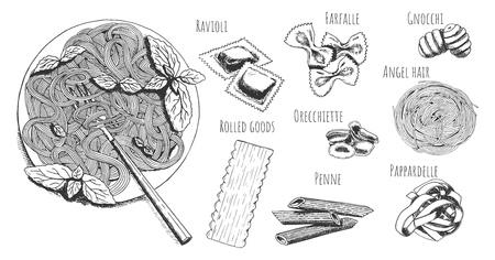 Ensemble de menus de cuisine italienne dessinés à la main de vecteur. Assiette de pâtes et lettrage raviolis, farfalle, gnocchi, cheveux d'ange, orecchiette, boudins, penne, pappardelle. Isolé sur fond blanc. Vecteurs