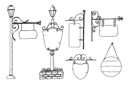 Vector hand drawn illustration of street city metal sign blank boards and pub, restaurants, hotel, shop displays, retro lantern on poles in vintage engraved style. Isolated on white background.