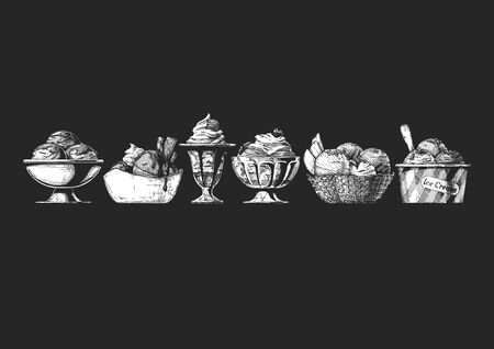 Set of Ice Cream served in different bowl: steel, ceramic, glass, waffle and paper bowls. Vector hand drawn illustration in vintage engraved style. Isolated on black background.