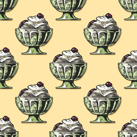 Seamless pattern with Ice Cream in vintage engraved style. Иллюстрация