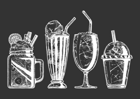 Vector hand drawn illustration of milkshake and coffee served with ice cream. Set in vintage engraved style. Isolated on black background. Banque d'images - 131433017