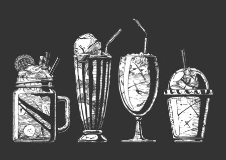 Vector hand drawn illustration of milkshake and coffee served with ice cream. Set in vintage engraved style. Isolated on black background.