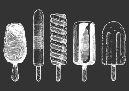 Set of different types of ice cream bar on a stick.  Vector hand drawn illustration in vintage engraved style. Isolated on black background.