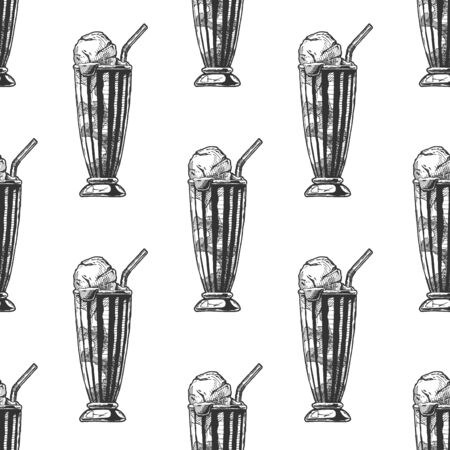 Seamless pattern with milkshake in vintage engraved style. On white background.