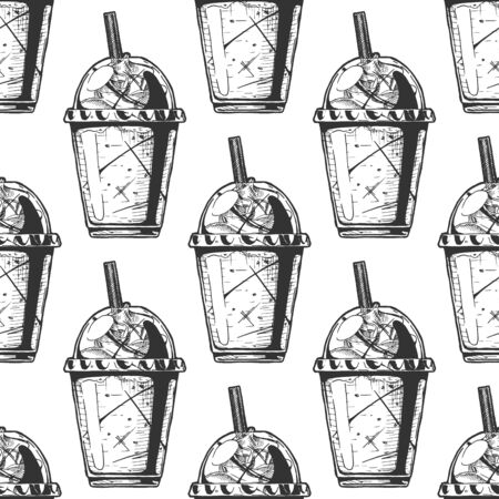 Seamless pattern with milkshake in a plastic cup. Illustration in vintage engraved style. On white background. Çizim