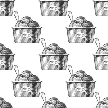 Seamless pattern with Ice Cream in vintage engraved style. On white background.