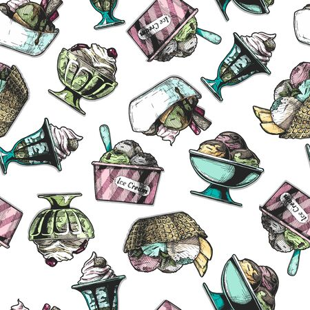 Seamless pattern with ice cream in vintage engraved style. On white background. Иллюстрация