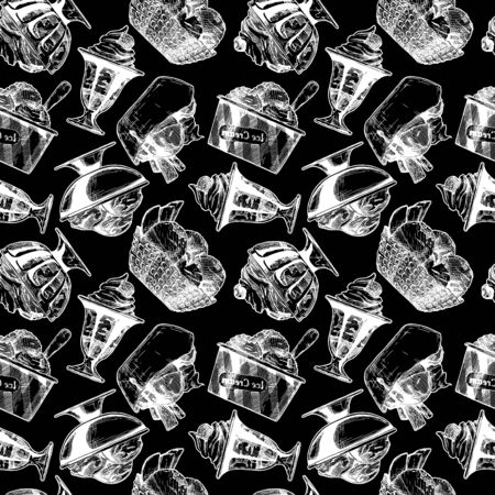 Seamless pattern with ice cream in vintage engraved style. On black background. Иллюстрация
