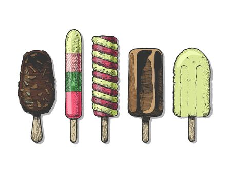 Set of different types of ice cream bar on a stick.  Vector hand drawn illustration in vintage engraved style. Isolated on white background.