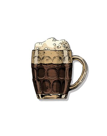 Beer in dimpled mug. Vector color illustration of jug glass in ink hand drawn style. isolated on white.