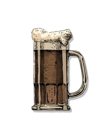 Beer in tankard glass. Vector color illustration in ink hand drawn style. isolated on white.