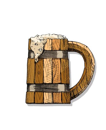 wooden tankard with a beverage. Beer or Kvass. Vector color illustration of drink in ink hand drawn style. isolated on white.