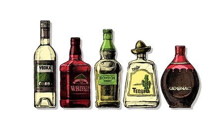Vector set of bottles of alcohol in ink hand drawn style. Distilled beverage. Color illustration isolated on white.