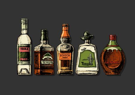 Vector set of bottles of alcohol in ink hand drawn style. Distilled beverage. Color illustration isolated on black. Ilustrace