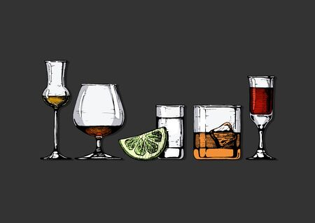 Vector set of glasses goblets in ink hand drawn style. �¡olor illustration isolated on black.