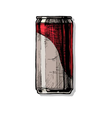Beercan. Vector hand drawn illustration of beverage can in ink hand drawn style.  isolated on white.
