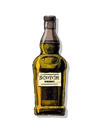 Bottle of Scotch whisky. Vector hand drawn illustration of Distilled beverage in vintage style. isolated on white. Reklamní fotografie - 131434374