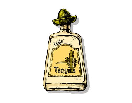 Bottle of Tequila Vector hand drawn illustration of Distilled beverage in vintage engraved style. isolated on white.