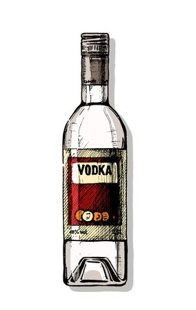 Vector hand drawn illustration of bottle of vodka in vintage engraved style. isolated on white.