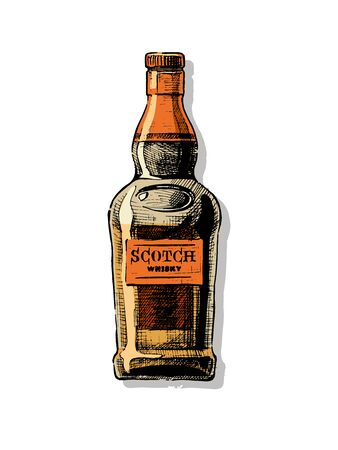 Bottle of Scotch whisky. Vector hand drawn illustration of Distilled beverage in vintage style. isolated on white. Reklamní fotografie - 131434385