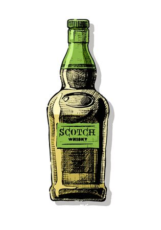 Bottle of Scotch whisky. Vector hand drawn illustration of Distilled beverage in vintage style. isolated on white.