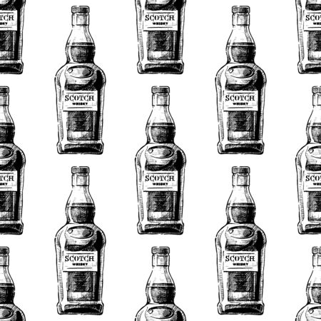 Seamless pattern with Bottle of Scotch whisky in vintage engraved style on white background. Distilled beverage. Reklamní fotografie - 131434457