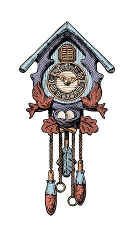 Vector hand drawn sketch of old Cuckoo clock. Vector Illustration