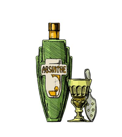 Vector hand drawn illustration of bottle of Absinthe with absinthiana in ink hand drawn style.  Stock Illustratie