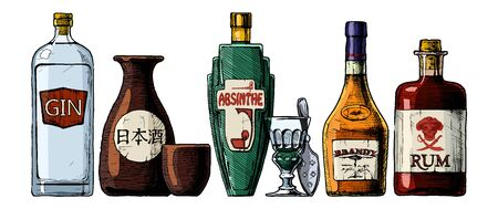Vector set of bottles of alcohol in ink hand drawn style. Distilled beverage. Gin, sake, absinthe, brandy, rum. inscription on the bottle in Japanese: nihonshu (日本酒, Japanese liquor)