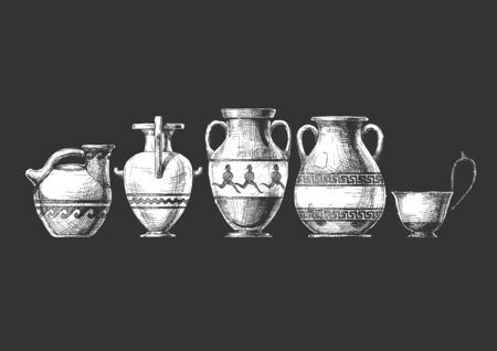 Vector hand drawn sketch of ancient greek vases set in ink hand drawn style.  Types of vases: Askos (pottery vessel), hydria, amphora, pelike, kyathos. Typology of Greek vase shapes. 矢量图像