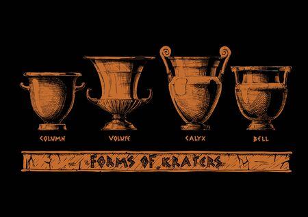 Vektor handgezeichnete Skizze der antiken griechischen Vasen in Tinte handgezeichneten Stil. Kraterformen: Säulenkrater, Volutenkrater, Kelchkrater und Glockenkrater. Typologie griechischer Weingefäßformen.