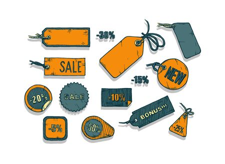 Vector illustration of sale labels set stylized as engraving  on white background.
