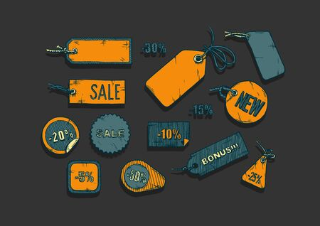 Vector illustration of sale labels set stylized as engraving  on black background. Ilustracja