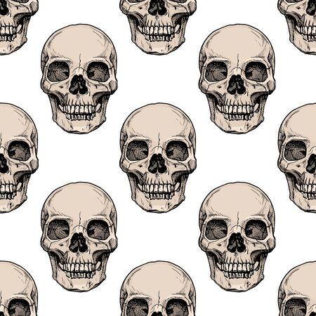 Seamless pattern with human skull. Vector illustration in vintage engraved style.