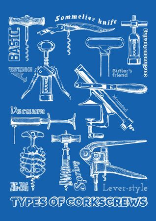 Poster with corkscrews types. Illustration of corkscrew in ink hand drawn style on blue background