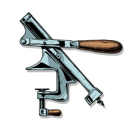 Vector hand drawn illustration of mounted corkscrew in vintage engraved style on white background.