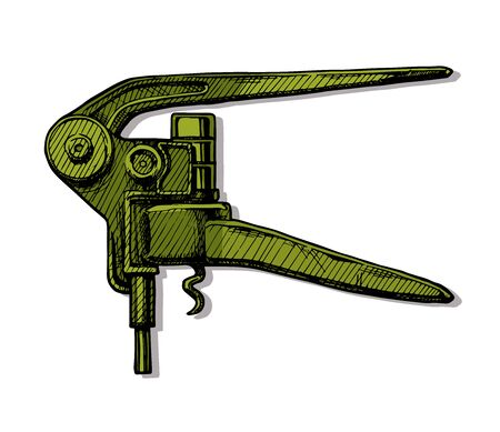 Vector hand drawn illustration of lever-style corkscrew in vintage engraved style on white background.