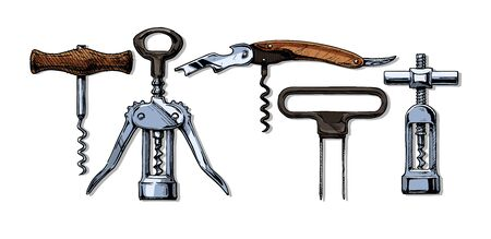 Vector hand drawn sketch of corkscrew set in ink hand drawn style. types of corkscrews: basic corkscrew,  wing corkscrew, sommelier knife, butler's friend, continuous turning corkscrew. isolated on white. Illusztráció