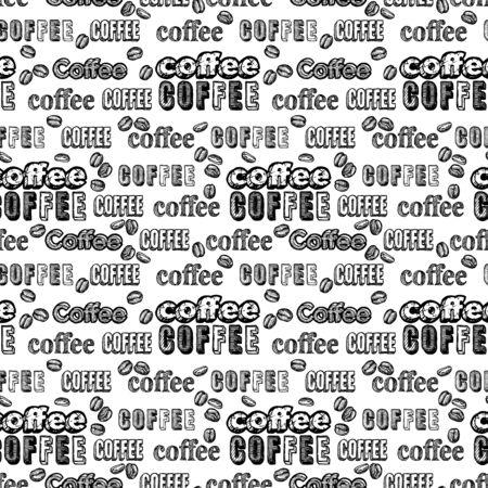 Naadloze doodle koffie patroon met tekst op witte achtergrond.