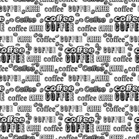 Seamless doodle coffee pattern with text on white background.